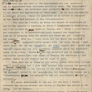 Second page of a draft letter from C.R. Ashbee to Lawrence Hodson, concerning Anglo-Catholic architecture, Arts and Crafts, socialism and his credentials, having trained under Bodley, 8 December 1902. [CRA/1/12, f.478]