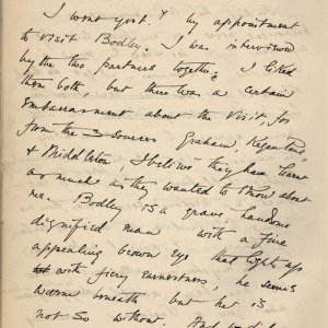 C.R. Ashbee's journal entry on his first meeting with Bodley, 7 July 1886. [CRA/1/2, f.227 verso]