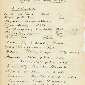 List of books read by C.R. Ashbee 'during the Long [vacation]', c. 2 September 1886. Includes works by Ruskin and Bodley (the latter was to become his employer). [CRA/1/2, f.263 verso]