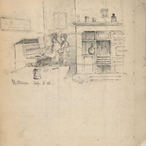 Sketch of Goldsworthy Lowes Dickinson and Edward Carpenter playing a duet at Millthorpe, Carpenter's home, taken from C.R. Ashbee's journal, 5 September 1886. [CRA/1/2, f.271]