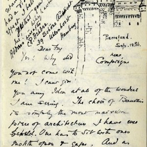 First page of a letter from C.R. Ashbee to Roger Fry, including a sketch of Pierrefonds, dated 26 April 1886. [CRA/1/2, f.303]