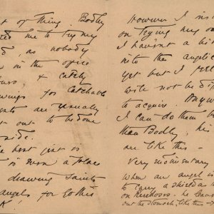 Part of a letter from C.R. Ashbee to Roger Fry, concerning Bodley's figure drawing, following designs for a proposed reredos, 8 June 1887. [CRA/1/3, f.116]