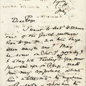 First page of a letter from C.R. Ashbee to Roger Fry concerning John Williams, dated July [1888]. [CRA/1/3, f.245 recto]