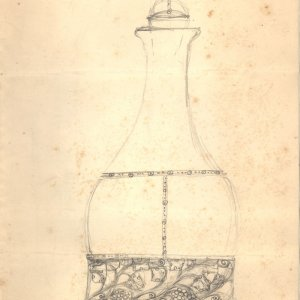 Pencil sketch showing the design for a stoppered bottle. [CRA/35 verso]