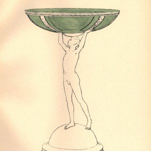 Handcoloured lithograph plate of a design for an epergne with 'a figure of a youth holding a shallow green bowl'. [Ashbee (1908) 'Modern English silverwork: an essay', pl.14]