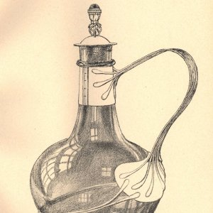 Design for a 'claret bottle of green glass, mounted in silver'. [Ashbee (1908) 'Modern English silverwork: an essay', pl.20]