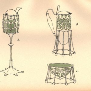 Handcoloured lithograph plate of  designs for 'two mustard pots and a salt-cellar'. [Ashbee (1908) 'Modern English silverwork: an essay', pl.39]