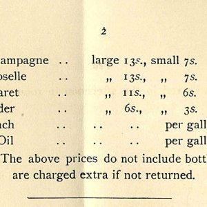 Drinks available in the buttery (1911)