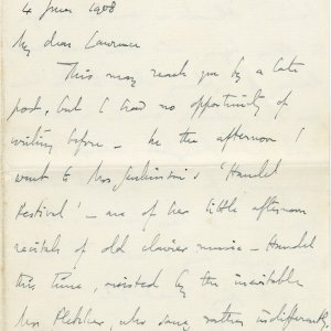 Letter from Edward Dent to Lawrence Haward, in which he refers to Rupert Brooke as 'Prince Rupert'. 4 June 1908. Archive Centre, King's College, Cambridge. EJD/4/111/10/5. Page 1.