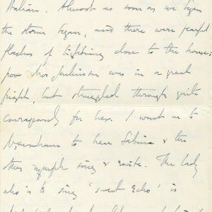 Letter from Edward Dent to Lawrence Haward, in which he refers to Rupert Brooke as 'Prince Rupert'. 4 June 1908. Archive Centre, King's College, Cambridge. EJD/4/111/10/5. Page 2.