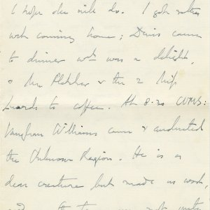 Letter from Edward Dent to Lawrence Haward, in which he refers to Rupert Brooke as 'Prince Rupert'. 4 June 1908. Archive Centre, King's College, Cambridge. EJD/4/111/10/5. Page 3.