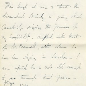 Letter from Edward Dent to Lawrence Haward, in which he refers to Rupert Brooke as 'Prince Rupert'. 4 June 1908. Archive Centre, King's College, Cambridge. EJD/4/111/10/5. Page 5.