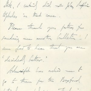 Letter from Edward Dent to Lawrence Haward, in which he refers to Rupert Brooke as 'Prince Rupert'. 4 June 1908. Archive Centre, King's College, Cambridge. EJD/4/111/10/5. Page 6.