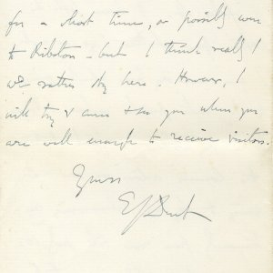 Letter from Edward Dent to Lawrence Haward, in which he refers to Rupert Brooke as 'Prince Rupert'. 4 June 1908. Archive Centre, King's College, Cambridge. EJD/4/111/10/5. Page 8.