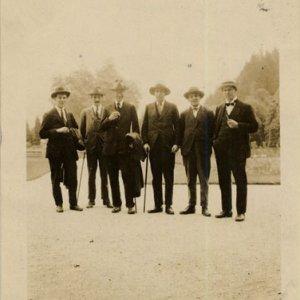 J. B. Trend, Dent, Boris Ord and others, in Hellbrunn, near Salzburg, 1923-4 (EJD/5/3/3)