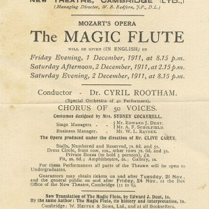 Flyer for Mozart's 'The Magic Flute' performed in English. As well as translating the opera, Dent was a stage manager and contributed programme notes. (EJD/7/2/2/1)