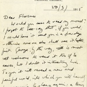 First page of letter from Forster to Florence Barger, 28 March 1915 (EMF/18/38/1)