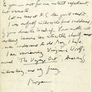 Second page of letter from Forster to Florence Barger, 28 March 1915 (EMF/18/38/1)