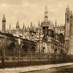 Screen, Chapel and front gate – outside College (F. Frith & Co., Reigate, 1906; EMF/27/236)