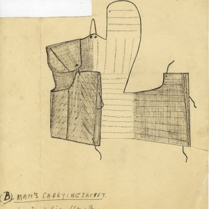 Sketch of a Yami man's carrying jacket, Botel Tobago (Leach, 1938; ERL/4/9)