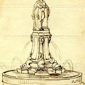Design sketch of the Fountain by Armstead 1873-79 (FRO/2)