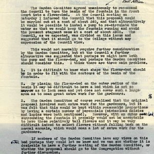 G. Salt's entry concerning the decision to turn the Fountain basin into a flower bed, 1949 (GS/2/5)