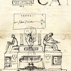 A design sketch by Armstead for the Statue of the Founder and the Fountain, 1873-79 (FRO/2)