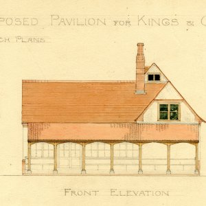 Front elevation of proposed pavilion for King's and Clare Cricket Clubs, by T.D. Atkinson, 1891 [GAR/31]