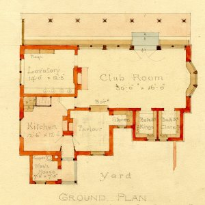Ground plan of proposed pavilion for King's and Clare Cricket Clubs, by T.D. Atkinson, 1891. [GAR/31]