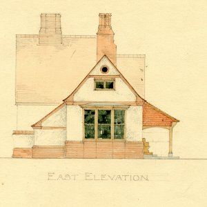 East elevation of proposed pavilion for King's and Clare Cricket Clubs, by T.D. Atkinson, 1891 [GAR/31]
