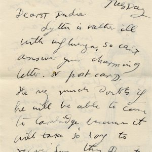First page of letter from Dora Carrington to GHW 'Dadie' Rylands, Tuesday [27 January 1931] (GHWR/3/81)