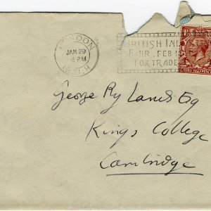 Envelope in which the letter was sent, postmarked 29 January 1931. (GHWR/3/81)