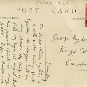 Postcard sent from Dora Carrington to Dadie Rylands, dated Sunday, postmarked 13 December 1931. (GHWR/3/81)