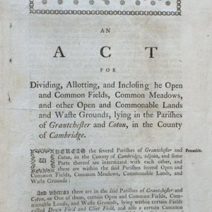 First page of the enclosure act for Grantchester and Coton. (GRA/296)