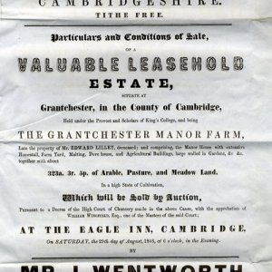 First page of particulars for the sale of the lease of Manor Farm, Grantchester, 1846 (GRA/298)