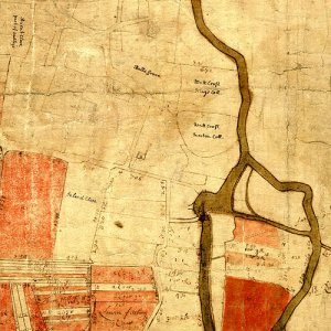 Part of a map of Grantchester by Skinner, 1666, with annotations by a mid 18th-century bursar. (GRA/894)