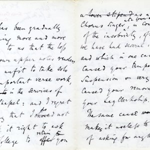 Second page of Augustus Austen Leigh's letter dismissing a lay clerk to 1885 (JEN/1/Leigh)