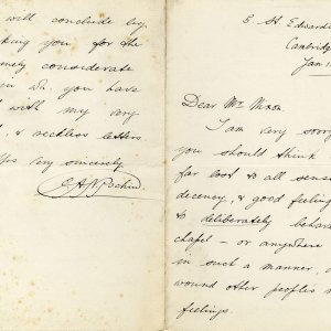 First page of a letter from Edmund Arthur Norman Pochin (KC 1886) to the Dean concerning accusations of reading instead of paying attention during services, 12 January 1889 (JEN/8)