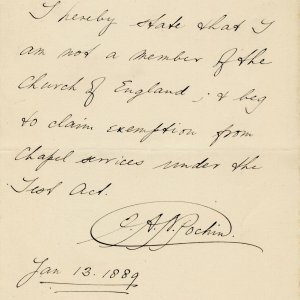 Note by Edmund Arthur Norman Pochin (KC 1886) claiming exemption from Chapel services, 13 January 1889 (JEN/8)