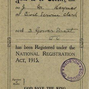 Certificate of J.M. Keynes' registration in the London borough of Holborn under the National Registration Act, 1915 (JMK/PP/6/2)