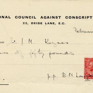 Receipt for Keynes' subscription to the National Council Against Conscription (JMK/PP/45/230/3)