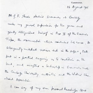 First page of Keynes' statement in support of Gerald Shove's appeal, 16 August 1916. (JMK/PP/45/296/68)