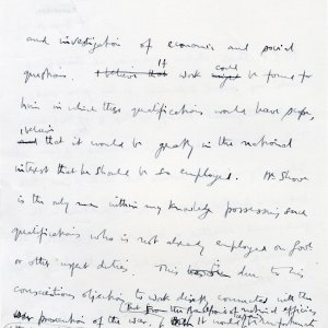 Second page of Keynes' statement in support of Gerald Shove's appeal, 16 August 1916. (JMK/PP/45/296/69)