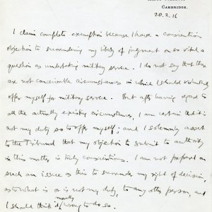 Statement from Keynes to the Holborn Local Tribunal, 28 February 1916. (JMK/PP/7/1)