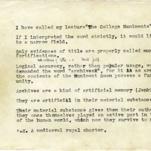 Start of Saltmarsh's lecture 'The Muniments of King's College', 1 May 1932 (JS/2/5)