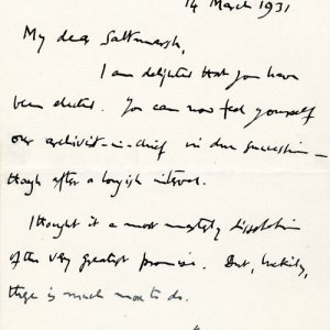 Letter of congratulations on election to a Fellowship, from JM Keynes (JS/3/1)
