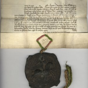 Royal Letters Patent granting an annuity of one tun (252 gallons) of wine in King's Lynn or London. 7 February 1446. Archive Centre, King's College, Cambridge. KC/62 (recto)