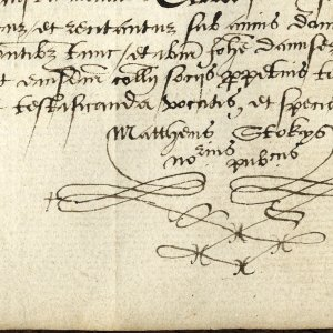 Usual mark of Matthew Stokes. Notary Public, 1576. (KCAC/2/1/1/240)