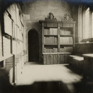 Photograph of the old muniments room, 1932 (KCAC/6/1/23/6)
