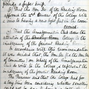 Amalgamation Club minutes, 9 March 1895. [KCAC/1/1/2 f.13]